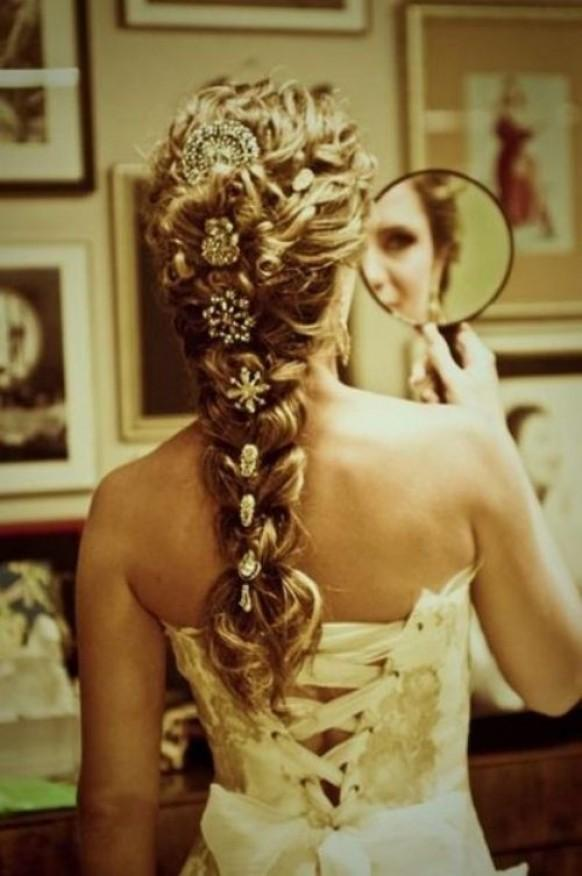 Braid hairstyle with brosh hair inpspiration 1123890 weddbook ccuart Image collections
