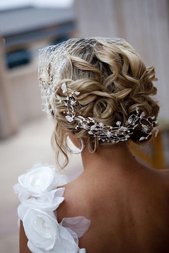 Stunning Bridal Updo Hairstyle With Rhinestone Headpieces