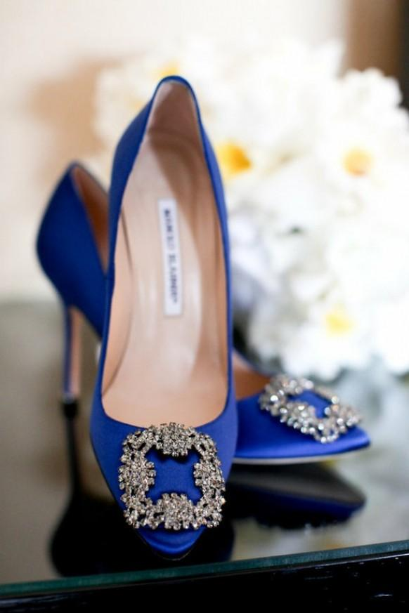 a01de548f21 Bride or Bridesmaids Wedding Shoes ♥ Blue Manolo Blahnik Satin Evening Pumps.  Weddbook ...