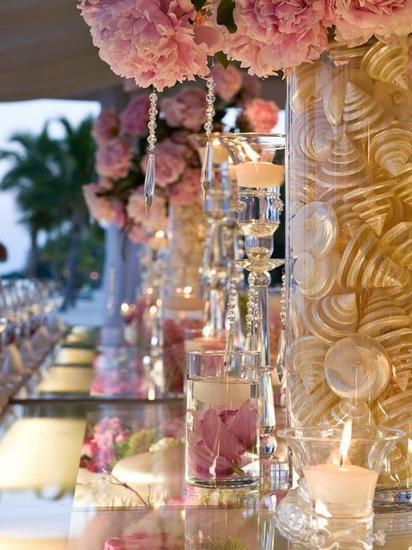 Pink wedding decor ideas pink flowers mother of pearl shells pink wedding decor ideas pink flowers mother of pearl shells crystals and candles wedding centerpiece 1901174 weddbook mightylinksfo Gallery