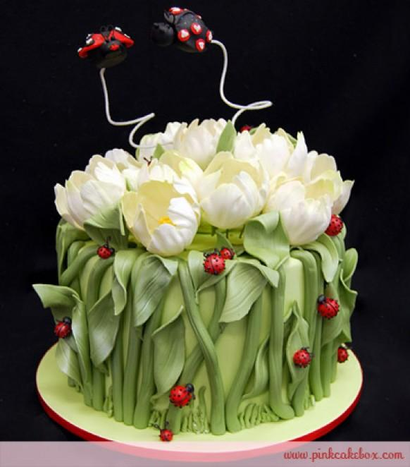 cute tulip and ladybugs wedding cake ♥ valentine's day cake ideas, Ideas