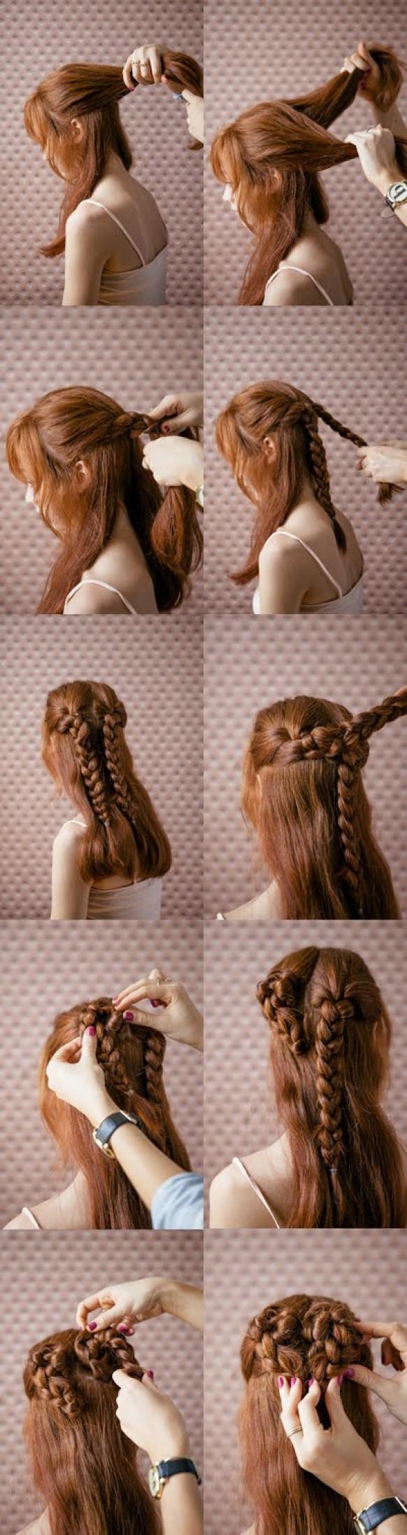 Как заплести саму себя красиво? Прически с косами на длинные 69