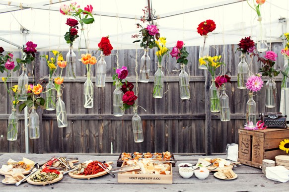 Cheap And Creative Garden Wedding Decoration Ideas ♥ Colorful Flowers In  Hanging Glass Bottles For Wedding #1910222   Weddbook