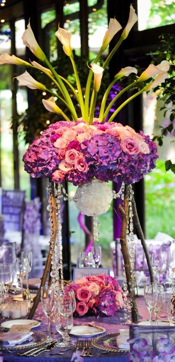 Centerpieces elegant purple wedding
