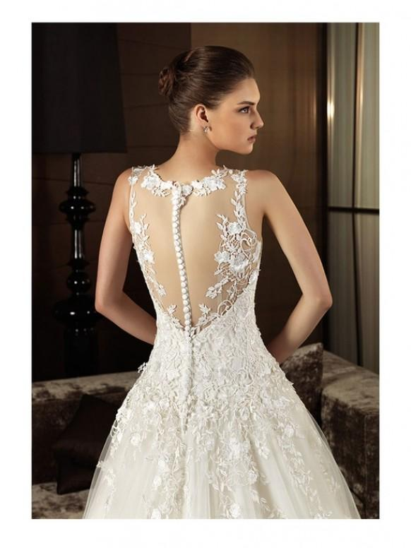 Lace button back dress