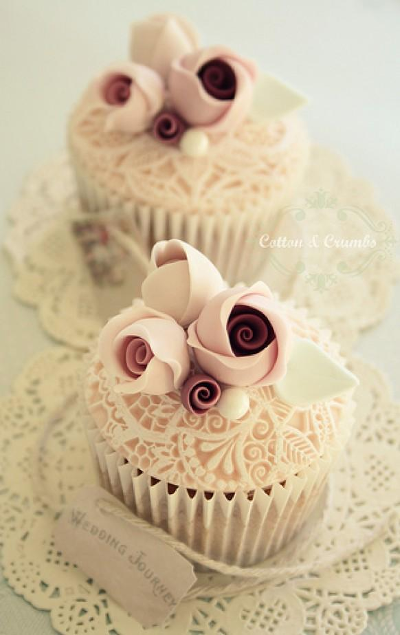 Vintage Wedding - Vintage Lace Cupcakes #1987484 - Weddbook