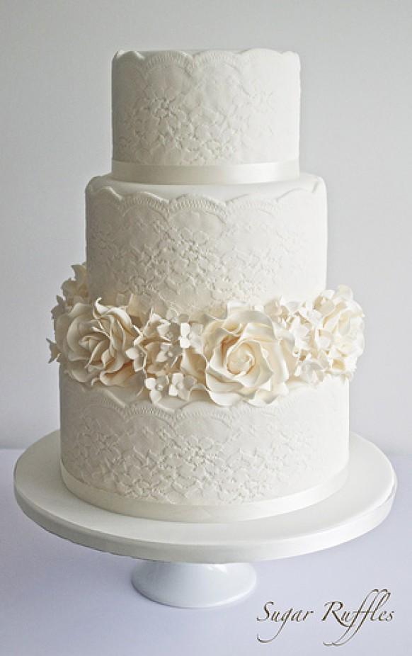 Gray And White Striped Birthday Cake
