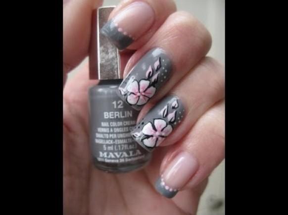 Nail Art Grey With Pink One Stroke Flower 1989073 Weddbook