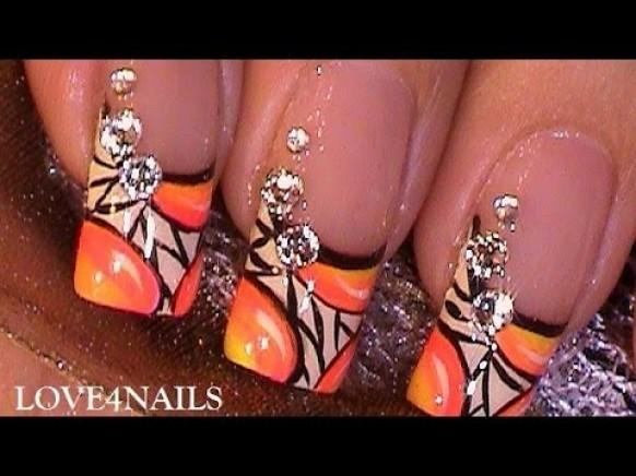 How To Paint A Bright Neon Nail Art Design With Crystals ...