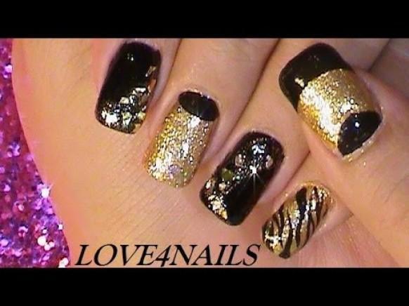 Gold Schwarz Rockstar Nail Art Tutorial 1989136 Weddbook