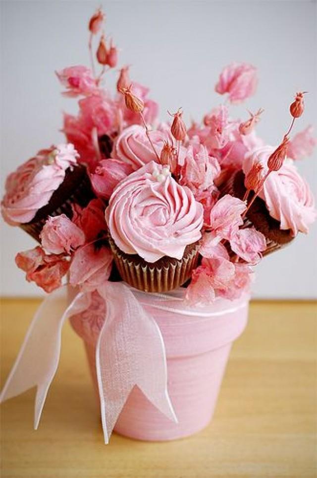 Light Pink Cupcake Bouquet In A Flower Pot #2038880 - Weddbook