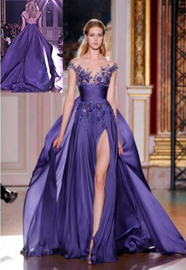 Nuevos Púrpura Larga Applique Formales Vestidos De Coctel Del ...