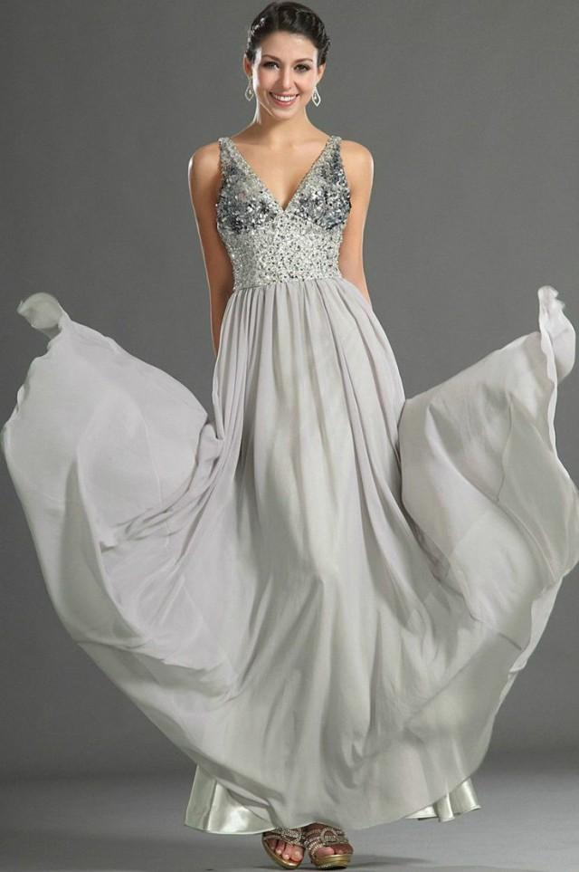 Grau Perle Chiffon Benutzerdefinierte Abendkleid Abendkleid Hochzeit ...