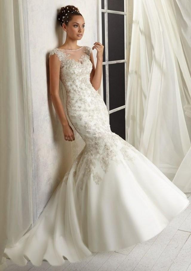 2014 new white ivory mermaid wedding dress bridal gown for White or ivory wedding dress
