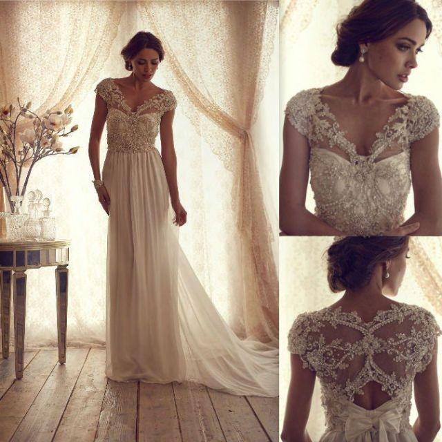 Anna Campbell Weinlese-Spitze-Hochzeits-Kleid #2045662 - Weddbook