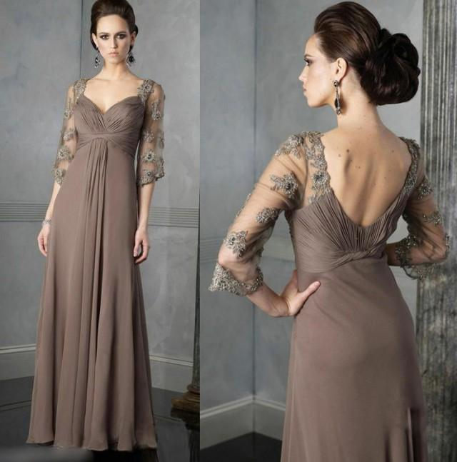 Modest Long Sleeves Chiffon Evening Formal Prom Gown Mother Of The Bride Dress 2045672 Weddbook
