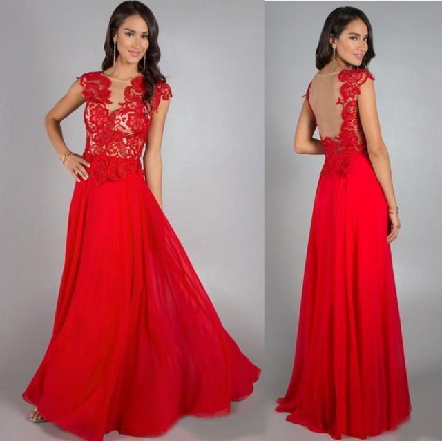 Kostenlose Bolero Rot Chiffon-lange Formale Abend-Kleid-Partei ...
