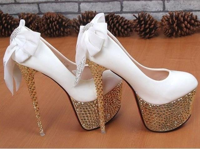 White Super High Heels Bridal Wedding Shoes With