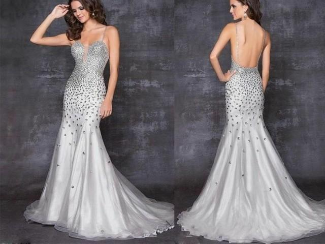 New Sexy Crystal Mermaid Evening Dresses Party Formal Prom