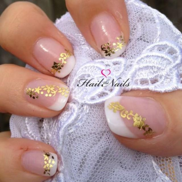 Gold Wedding - Gold Lace Water Transfer Wedding Nails ...