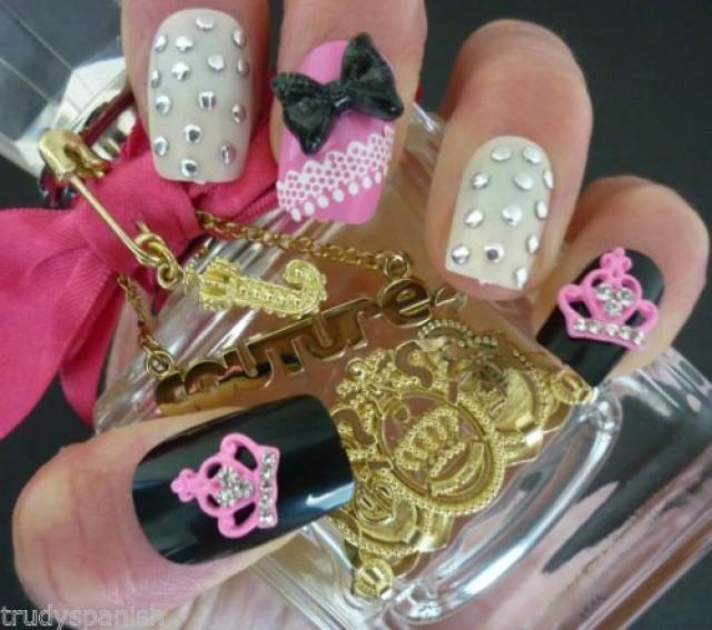 Details About 3D Nail Art Glitter Bows & Metal Pink Juicy Crown ...