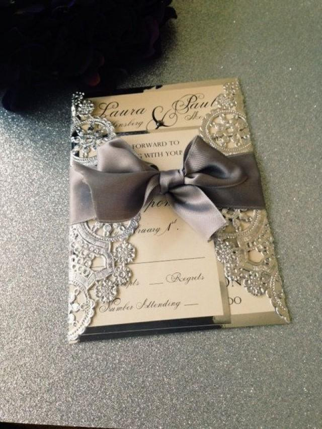 SAMPLE - Metallic Doilies Wedding Invitation Suite With Ribbon Bow ...
