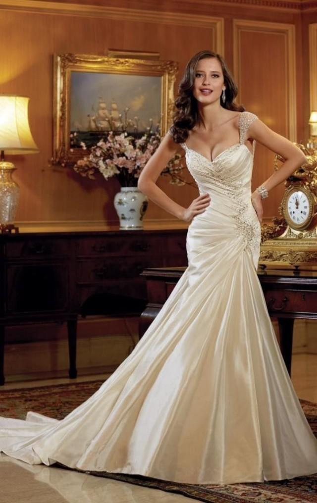 Satin Beading White Ivory Wedding Dress Bridal Gown Custom