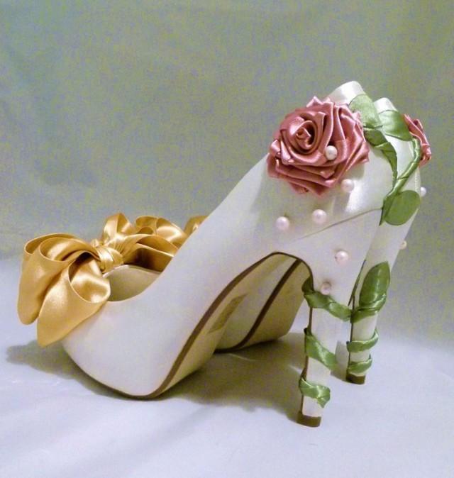 Ivory Satin Bridal Shoes Belle Disney Princess Inspired Custom