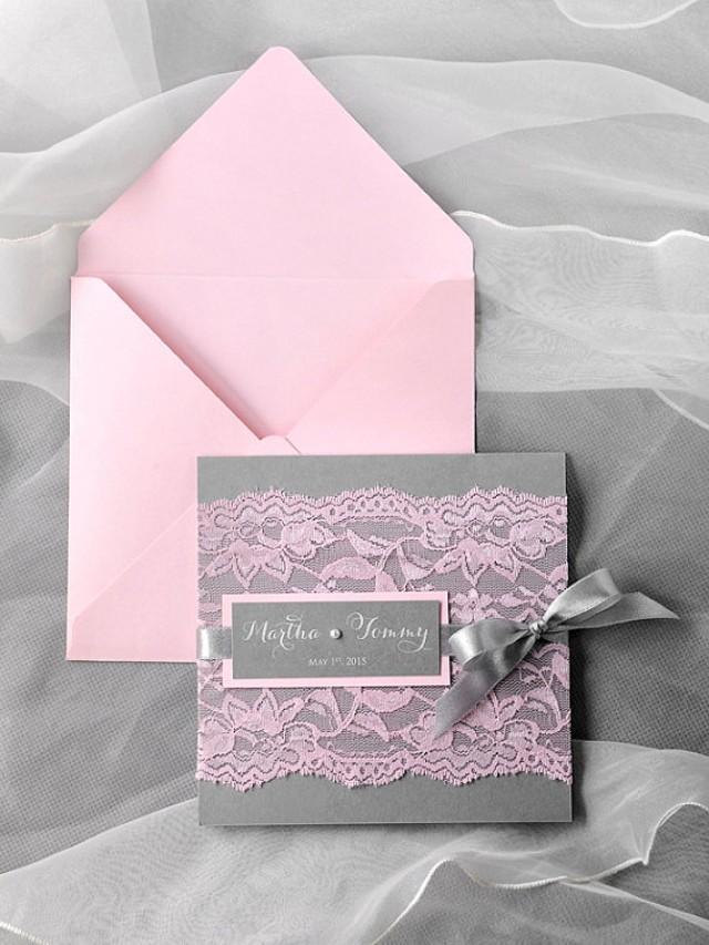 Custom Listing 50 Pink Lace Wedding Invitation Pocket