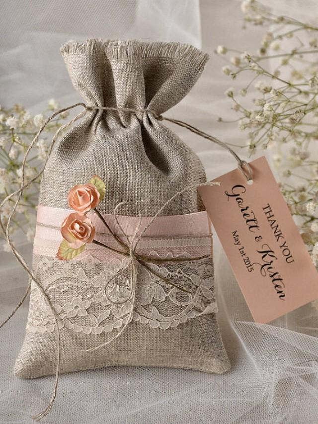 Custom Listing (20) Peach Rustic Favor Bag, Rustic Wedding ...