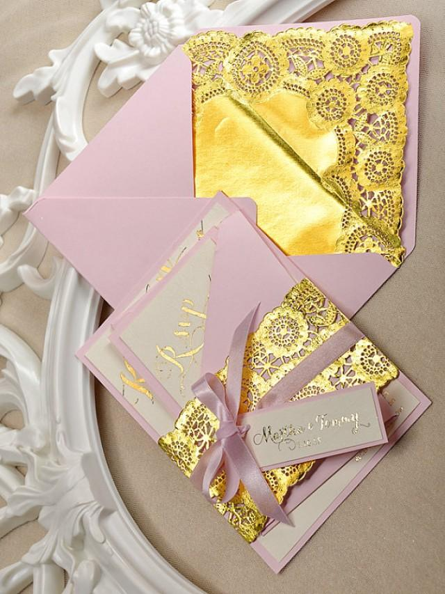 Gold And Pink Wedding Invitation - Wedding Gold Embossed ...