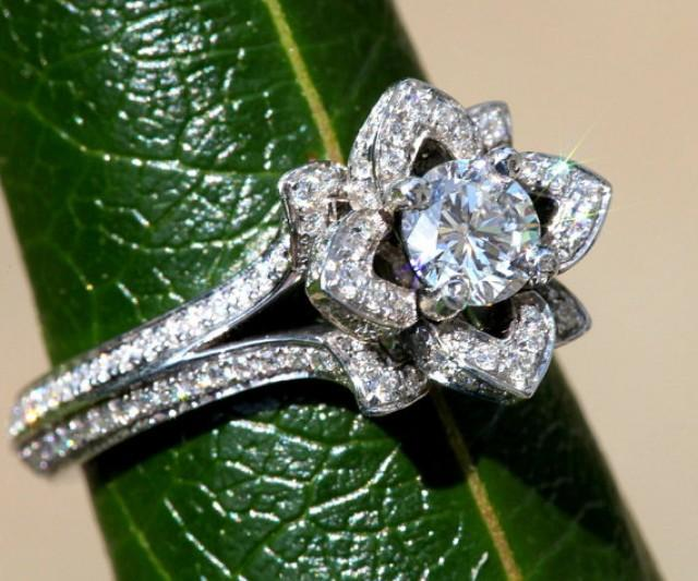Flower wedding ring diamond  Etsy
