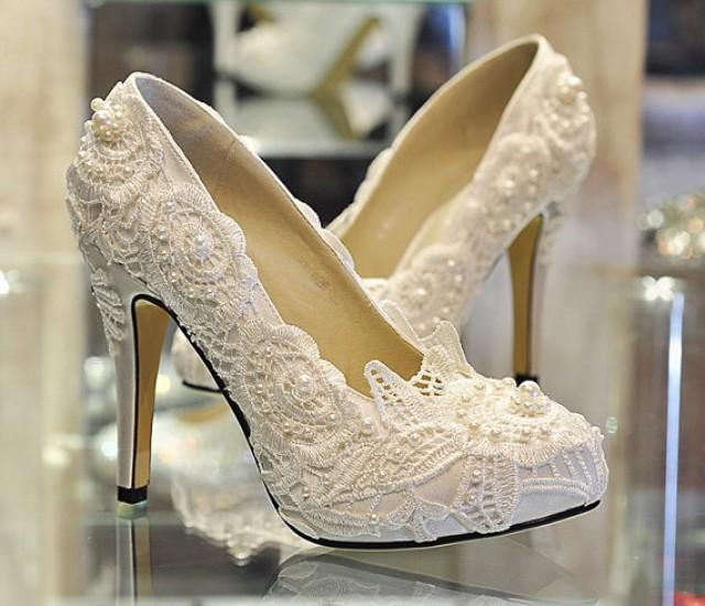 Pearl White Lace Daisy Bridal Shoes - Ballet Flat Shoes ...