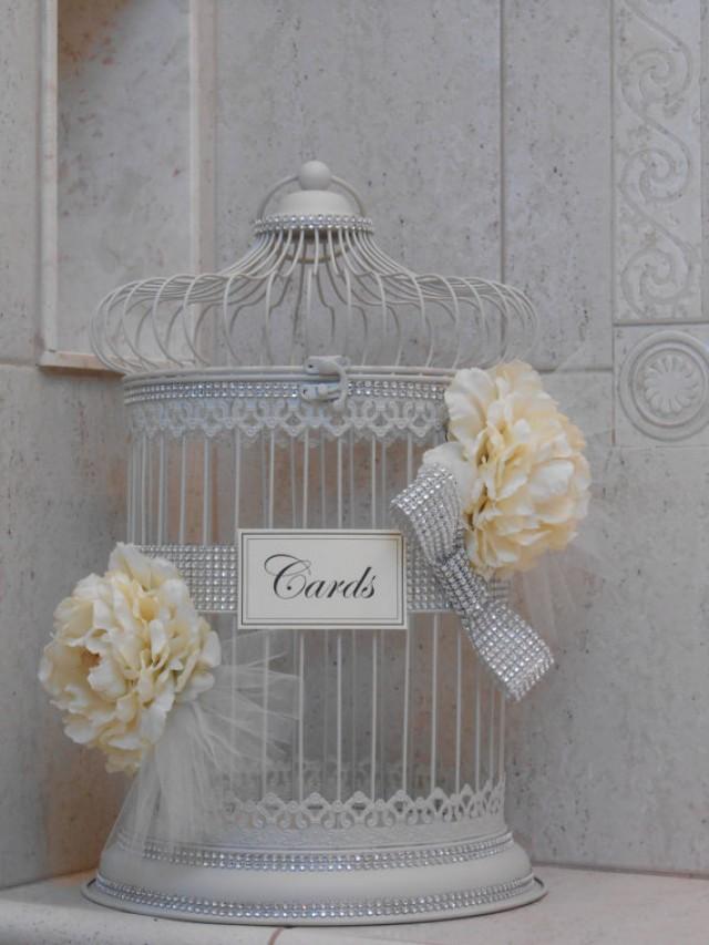 Elegant Birdcage Wedding Card Holder Sparkle Birdcage