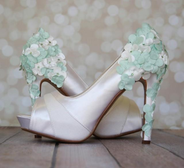 Mint Green Wedding Shoes With Satin Flowers #2260796 ...