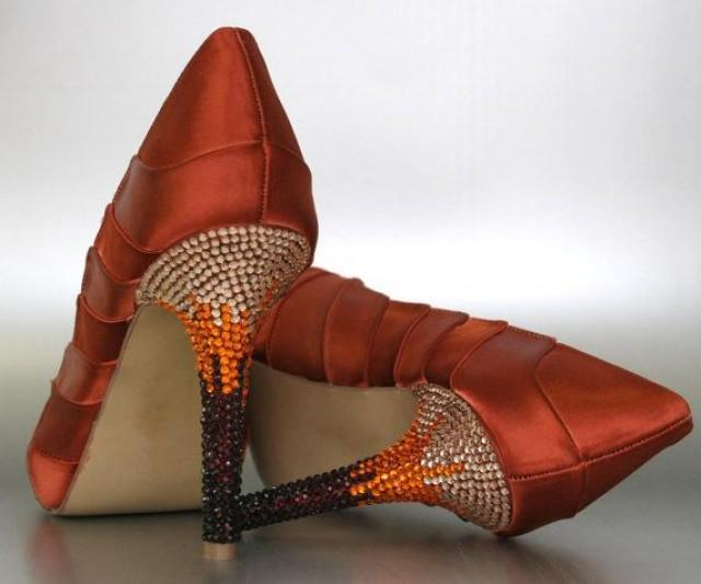 Wedding Heels With Rhinestones: Burnt Orange Platform Peep Toe Wedding Shoes With Ombre