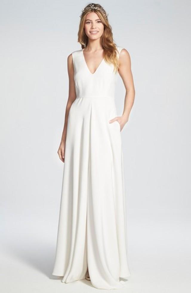 Houghton \'Grady\' Sleeveless Silk V-Neck Gown #2624064 - Weddbook