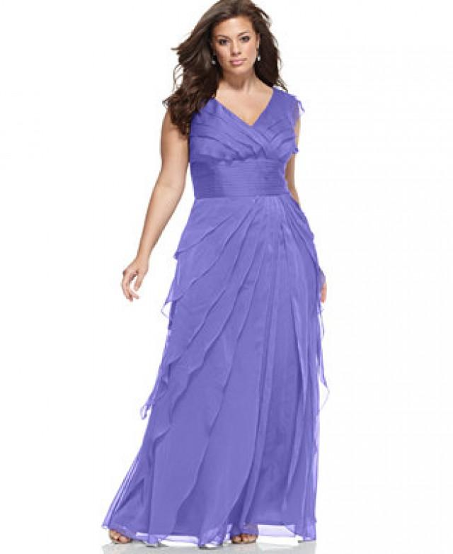 Adrianna Papell Plus Size Tiered Empire Gown #2626887 - Weddbook
