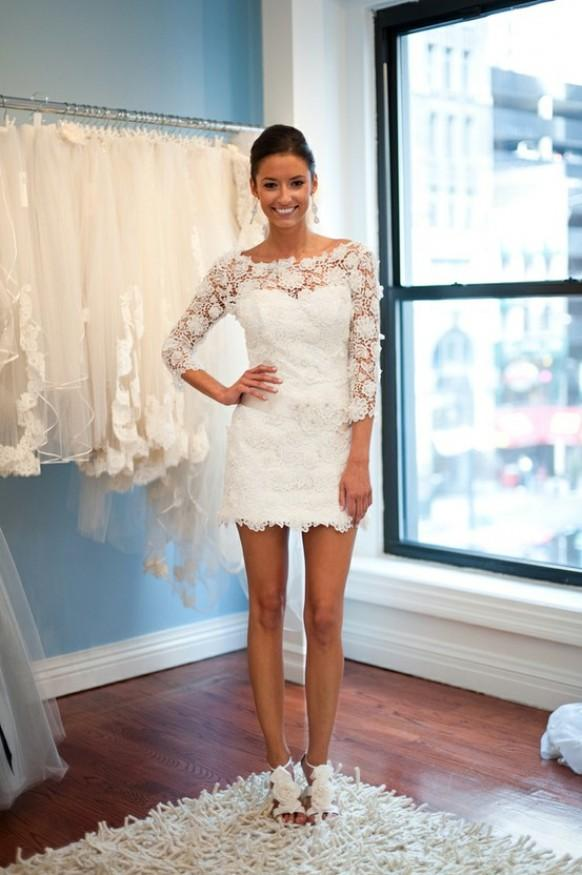 White Long Sleeve Short Wedding Dresses