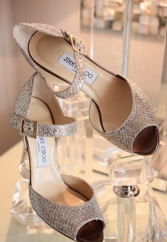 aaa9bfd73d Sparkly Wedding High Heels. Weddbook ♥ Peep Toe Silver Metallic Jimmy Choo  ...