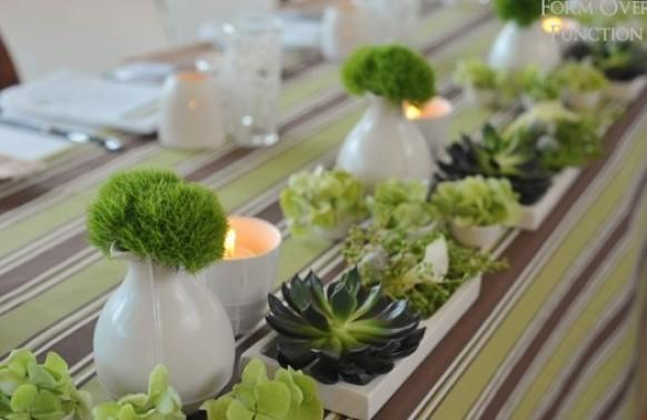 Striped Wedding Green Wedding Table Decoration Ideas
