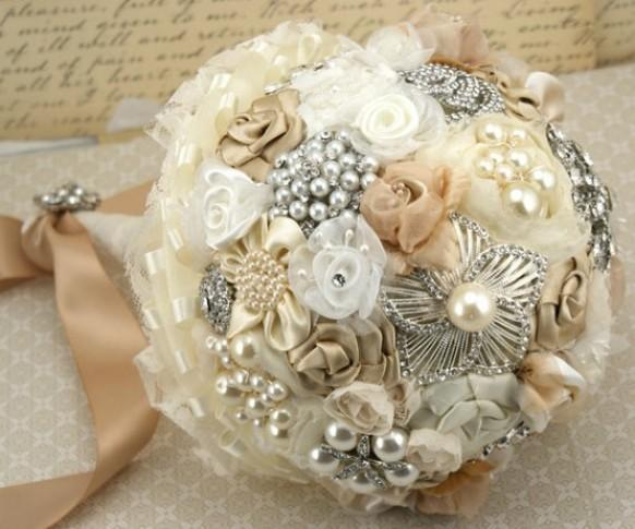 Vintage Wedding Flower Bouquets: Vintage Wedding Bouquet ♥ Handmade Custom Vintage Brooch