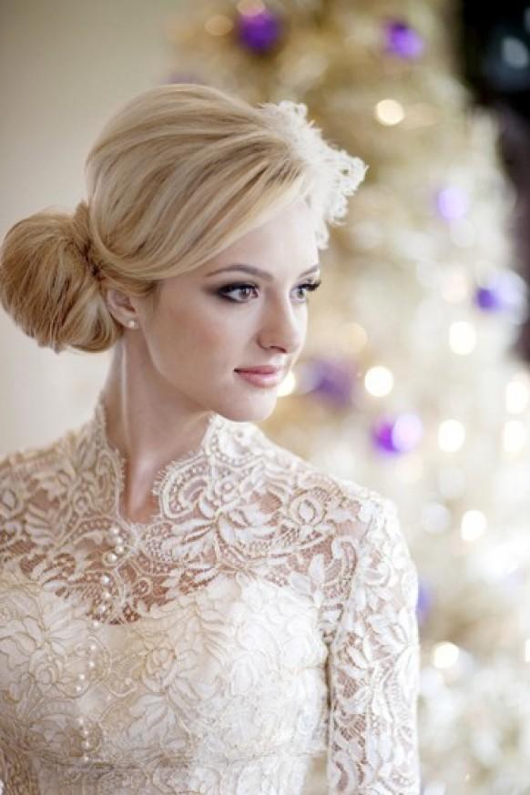 Ivory Long Sleeved Lace Wedding Dress Winter Wedding Dresses