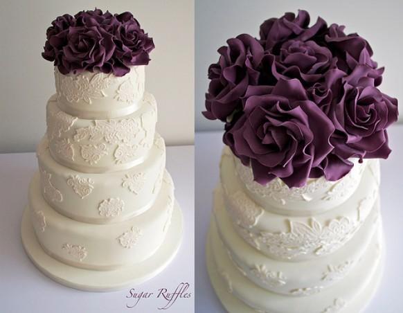 ivory wedding cake with purple roses purple wedding ivory lace with purple roses 16552
