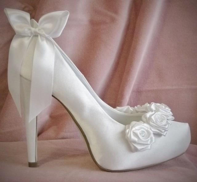 vintage wedding shoes for bride white ivory satin bridal shoes boutique fairytale bow 8334