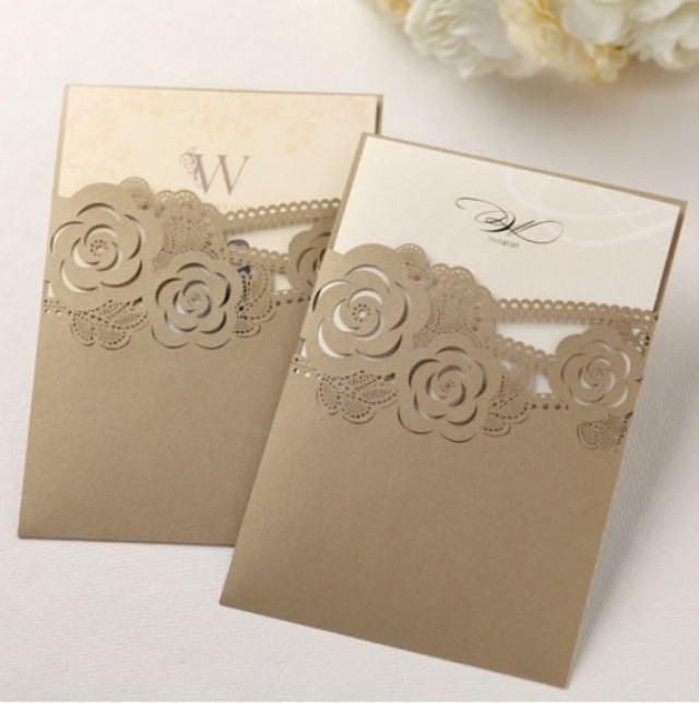 Pearl Gold Wedding Invitation Laser Cut Custom Design Personalized Invitations Golden Pack Of 50 New 2292448